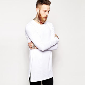 longline long sleeve t-shirt extra length t shirt solid tall tee men tshirt with zipper to the hem free shipping top tees
