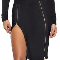 Black Double Zip Slit High Waist Bodycon Bandage Skirt