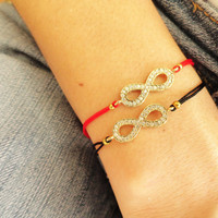 Infinity bracelet, mother daughter jewelry in red and black, gift for girl friend, best friend birthday, mother present, string bracelets