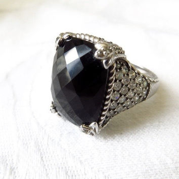 Judith Ripka Monaco Ring Sterling Silver Onyx Diamonique CZ stones Vintage Size 10.5 Designer Signed High End Jewelry