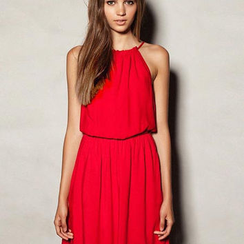 'The Adelaide' Red Halter Neck Midi Dress