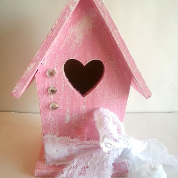 Miniature birdhouse - pink shabby chic - for home decor