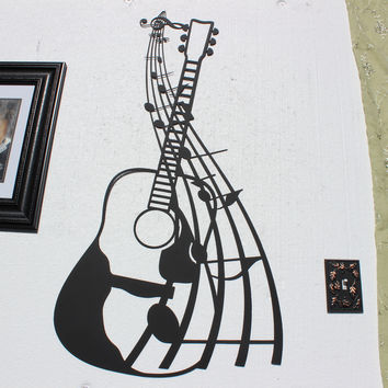 Large Accoustic Guitar with Music Music Notes Metal Wall Art Decor