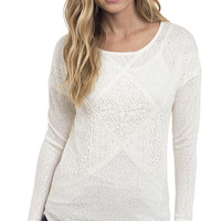 Long Sleeve Lace Paneled Slub Knit Top