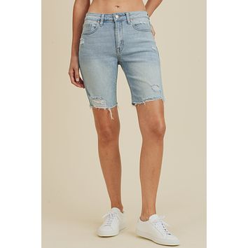 Distressed Denim Bermuda Biker Short