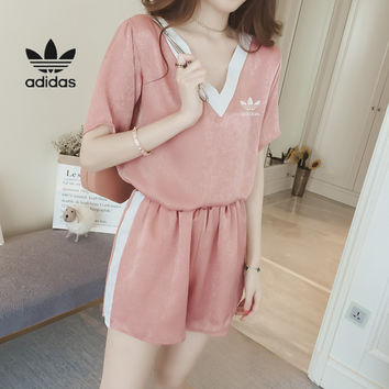 """Adidas "" Women Casual Multicolor V-Neck Short Sleeve Shorts Set Two-Piece Sportswear"