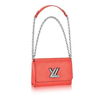 Authentic Louis Vuitton Epi Leather Twist MM Handbag Article: M51004 Poppy Made in France