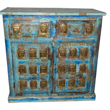 Antique Media Console Table Buddha Carving Chest Coffee Table Distressed Furniture FREE SHIP