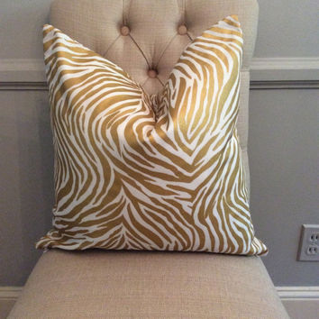Handmade Decorative Pillow Cover - Zebra - Gold - Metallic - Animal Print
