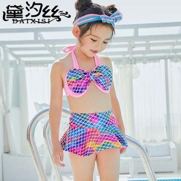 Sexy Bikini Kids Children's Swimwear Swimming Suit Girls Summer 2018 Child Mermaid Swimsuit Tail Girl Bathing Animal Polyester