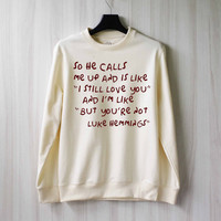 So He Calls Me Up - Luke Hemmings Sweatshirt Sweater Shirt – Size XS S M L XL