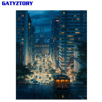 GATYZTORY Frameless City Night DIY Painting By Numbers Modern Wall Art Picture Paint By Numbers Unique Gift For Home Decor 40x50