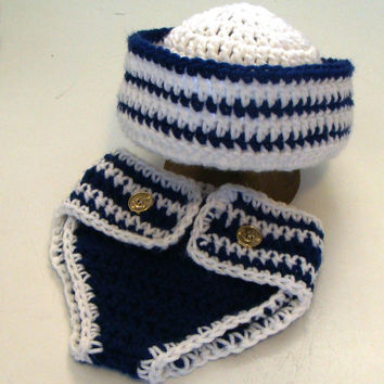 Crochet Navy, Sailor hat and diaper cover set: Will fit newborn up to 3 months. Ready to ship.
