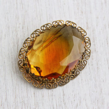 Vintage Amber Brown Glass Stone Brooch - Gold Tone Filigree Oval Western Germany Costume Jewelry Pin / Chesnut Facets