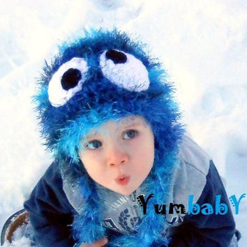 Monster Hat Baby Boy Hats Blue Fuzzy Beanie with Earflaps