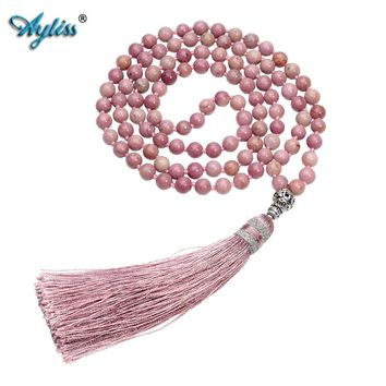 Ayliss 6mm Natural Rhodochrosite/Moss Carnelian 108 Buddhist Prayer Bead Tibetan Mala Multilayer Wrap Bracelet Necklace w/Tassel