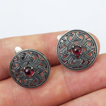 Northen sun earrings, Celtic earrings, Silver earring, Silver jewelry, Garnet earrings, Viking earrings, Viking jewelry, Norse earrings