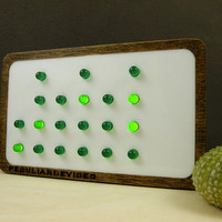 Binary Clock, 24-hour clock, GREEN LED, choose your pront color, white front, personalized clock