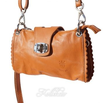 Italian Tan Genuine Leather Clutch with Shoulder Strap