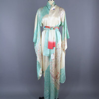 Vintage Kimono / Silk Kimono Robe / Dressing Gown / Long Robe / Wedding Lingerie / Vintage Furisode / Art Deco / Furisode / Silver Swans
