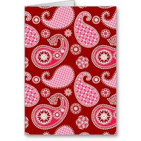 Paisley pattern, Dark Red, Pink and White Greeting Card