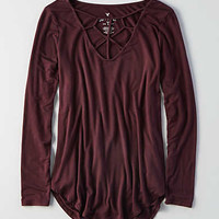AEO Soft & Sexy Cage Front T-Shirt , Burgundy