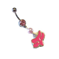 Fox Head Racing Pink Belly Ring Body Jewelry