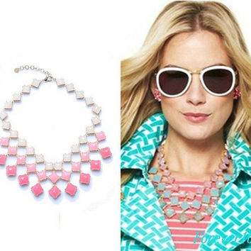 Mix Crystal Necklace - J Crew Inspired Necklace - Statement Necklace - Flower Necklace - Jcrew Inspired Necklace