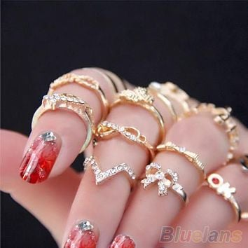 1 Set 7 pcs Women's Rhinestone Bowknot Knuckle Midi Mid Finger Tip Stacking Rings  00