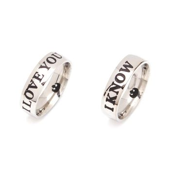 "Star Wars Rings"" I Love You"" "" I know""  Couple Rings Stainless Steel Lovers Ring"