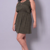 Plus Size Butterfly Mini Dress - Olive