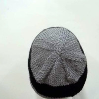 Black and Gray Stripes hand knitted beanie hat   4833