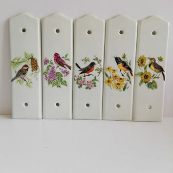 Set of Five Vintage French Porcelain Door Plates, porcelain Limoges, Merigous house, hand painted, patterns birds