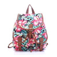 Women's Flower Pattern Print Canvas Backpack Campus School Bookbag
