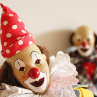 Vintage clowns, set of two, bisque face clowns