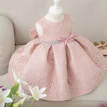 Baby Girl Dresses With Cap Super Back Bow Diamand Belt Baby Christening Gowns 1 Year Birthday Dress Newborn Lace Baptism Dress