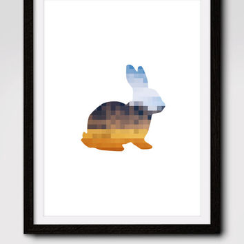 60% OFF SALE Geometric Rabbit Print, Rabbit Silhouette, Geometric Rabbit Art, Pixel Art, Nursery Wall Print, Rabbit Nursery,Printable Art