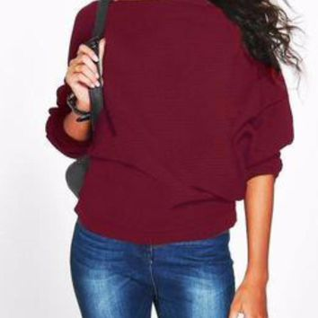 Burgundy/Wine Boatneck Casual Dolman/Batwing Sleeve Knit Sweater Top