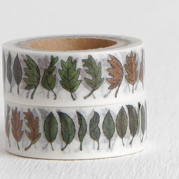 Seasonal Fall Leaves Washi Tape, Oak Leaf Spring Summer Autumn Winter Washi, 15mm