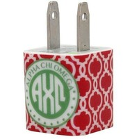 Alpha Chi Omega Red Quatrefoil Phone Charger