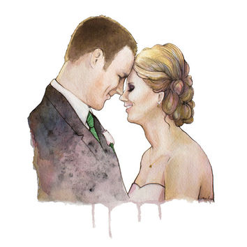Custom Watercolor Couples Portrait. Perfect wedding gift, anniversary gift, or birthday gift! Any 2 lovely people (or pets)