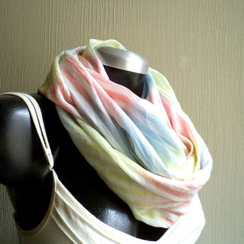 Infinity scarf, Spring scarf, cowl, cotton 100% multicolored print , ultra lightweigh, airy and fun, READY To SHIp.