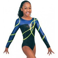 Gymnastics Leotards by Snowflake Designs Alyssandre Competition Leotard in Blue and Black Cool Gymnastic Leotards for Workout and Competition