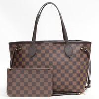 Louis Vuitton Damier Neverfull PM Shoulder Bag Brown 6074