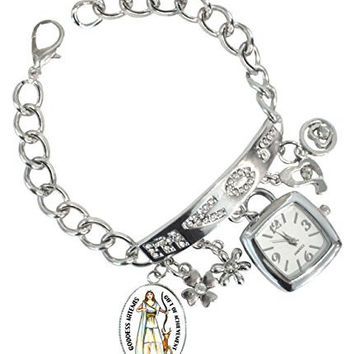 "Goddess Artemis For Achievement Rhinestone Love Charm Chain Bracelet Watch 6"" to 8"""