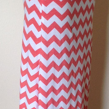 Coral and white Chevron maxi skirt, summer skirt, chevron maxi skirt, skirt, maternity skirt, long skirt