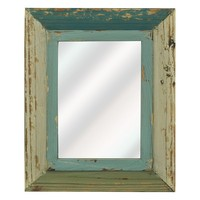 Natural Home Distressed Wall Mirror (Blue)