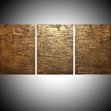 "WALL ART triptych 3 panel wall contemporary affordable art "" Gold Triptych "" canvas original painting abstract kunst 27x12 """