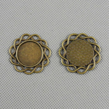 2x Supply Pendant Necklace Pendentif Jewelry Findings Charms Schmuckteile Charme 4-A3157 Round Setting Cabochon Frame