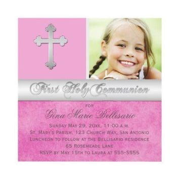 Pink, Silver First Holy Communion Photo Invitation from Zazzle.com
